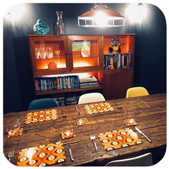 Customer photo - 70s style Op Art Placemats in mid century style dining room | The Inkabilly Emporium