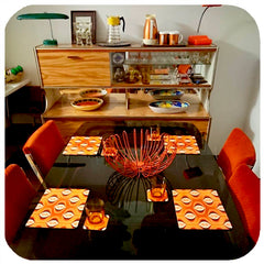 Customer photo - 70s Op Art placemats and coasters in Mid Century Dining Room
