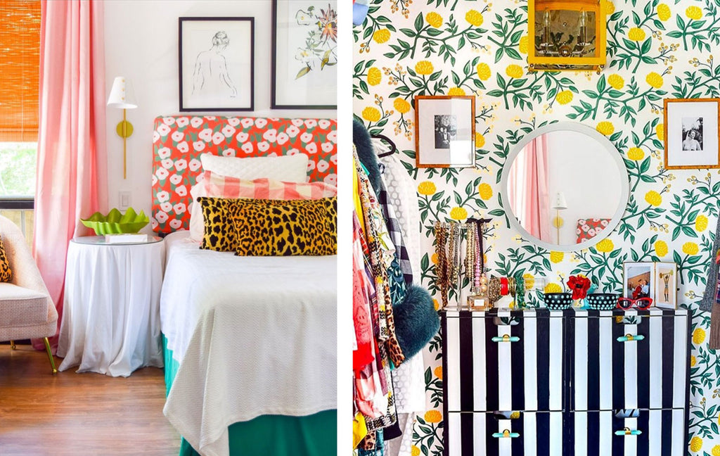 House Tour: Ariel's bold retro home - bedroom and dressing room.Photo credit PMQforTWO