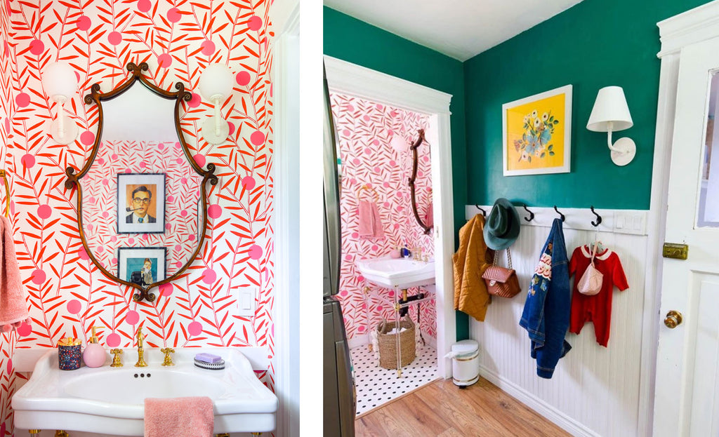 House Tour: Ariel's bold retro home - cloakroom. Photo credit PMQforTWO