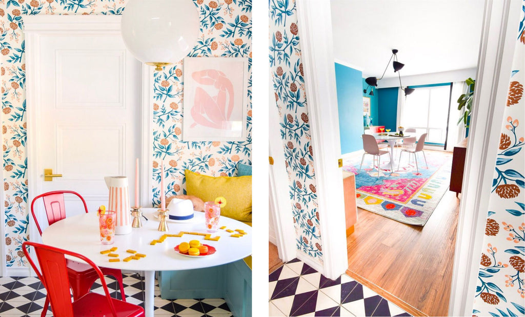 House Tour: Ariel's bold retro home - Kitchen corner and hall.  Photo credit PMQforTWO