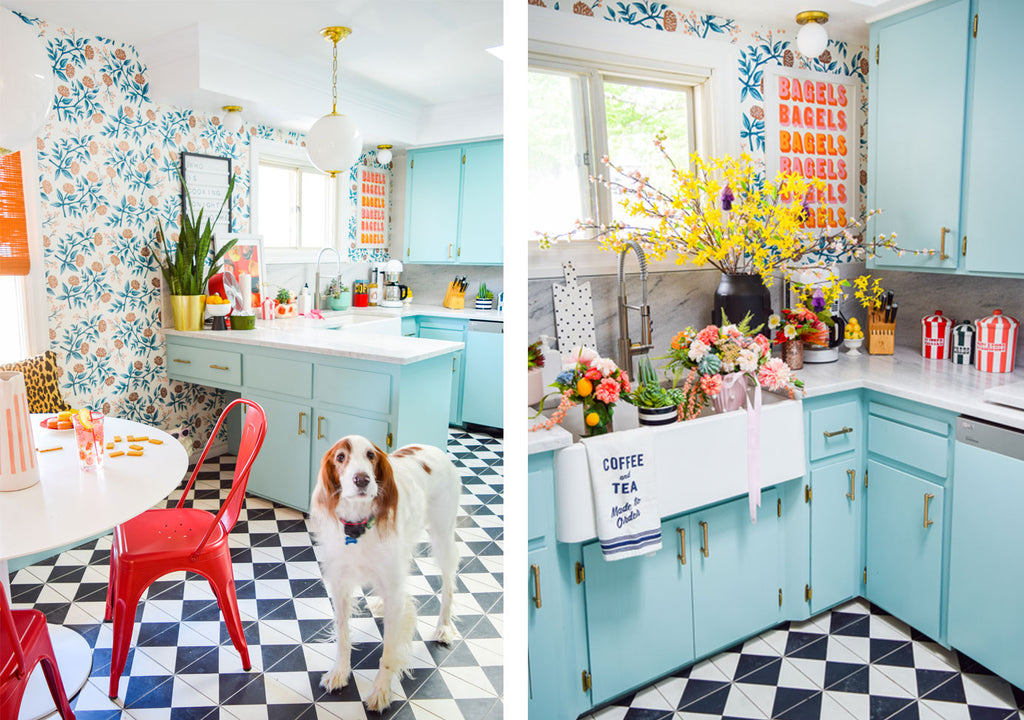 House Tour: Ariel's bold retro home - Kitchen.Photo credit PMQforTWO