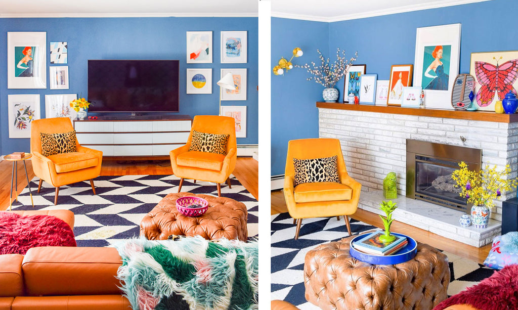 House Tour: Ariel's bold retro home - lounge details. Photo credit PMQforTWO