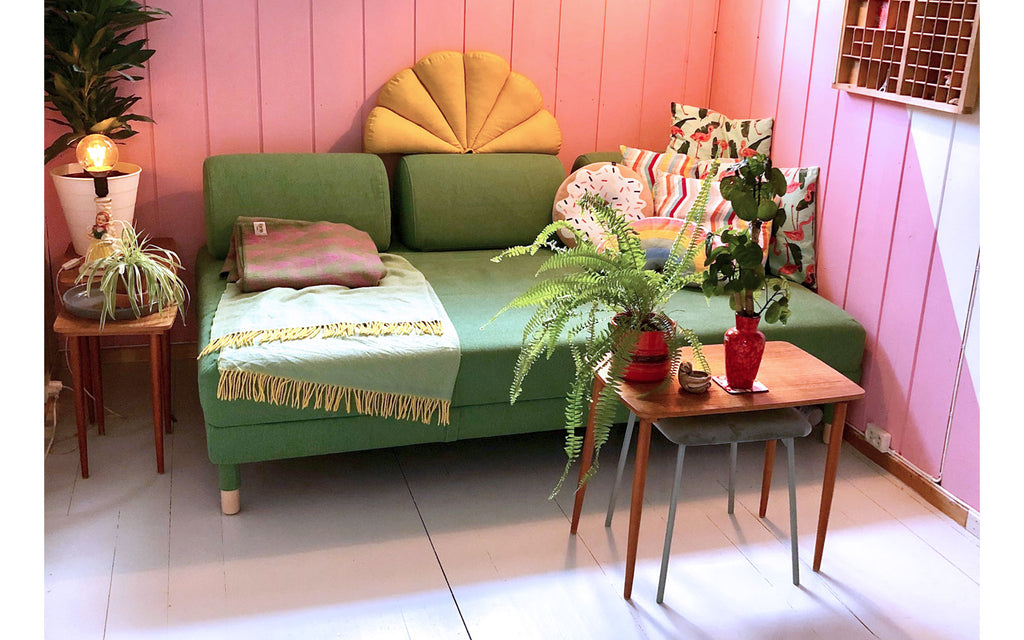 The Inkabilly Blog - Ingrid's vintage sofa and other mid century pieces in a cosy corner