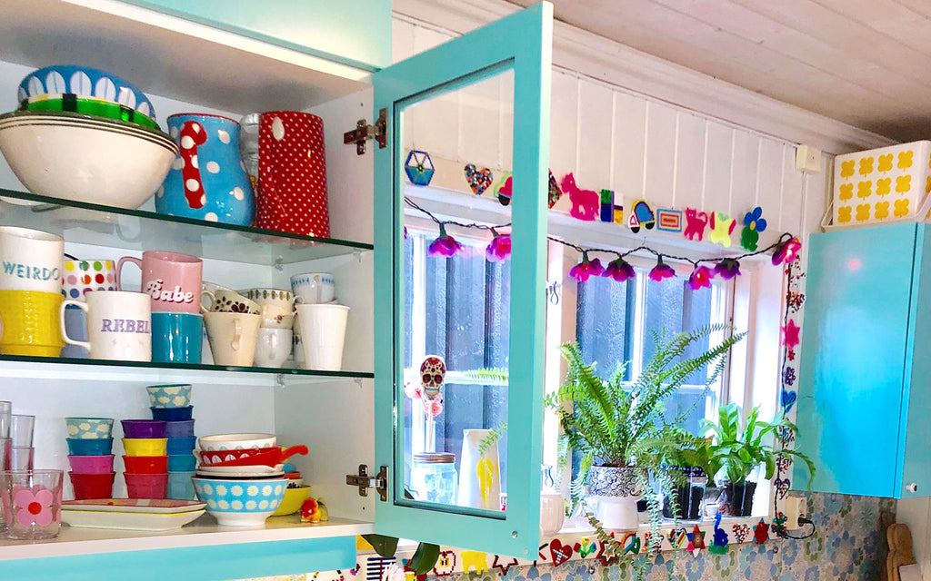 The Inkabilly Blog - Ingrid's colourful kitchen cupboards