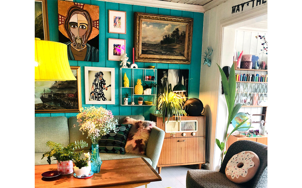 The Inkabilly Blog - Ingrid's gallery wall of eclectic art