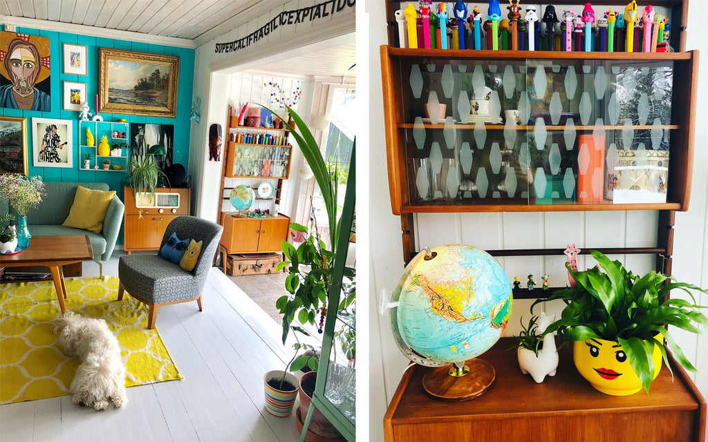The Inkabilly Blog - Ingrid's eclectic vintage lounge with detail of teak cupboard