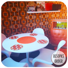 Customer photo - Custom order for round 70's placemats in 70s style dining room | The Inkabilly Emporium