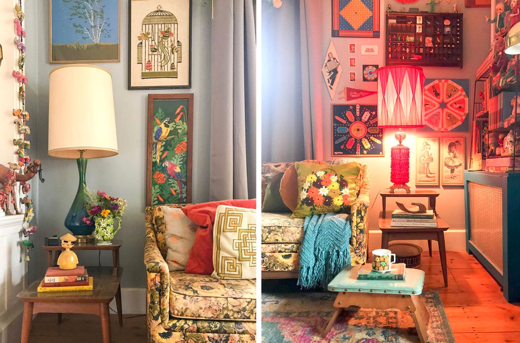 House Tour: Ryann's Mid Century Home - corner details with vintage lamps