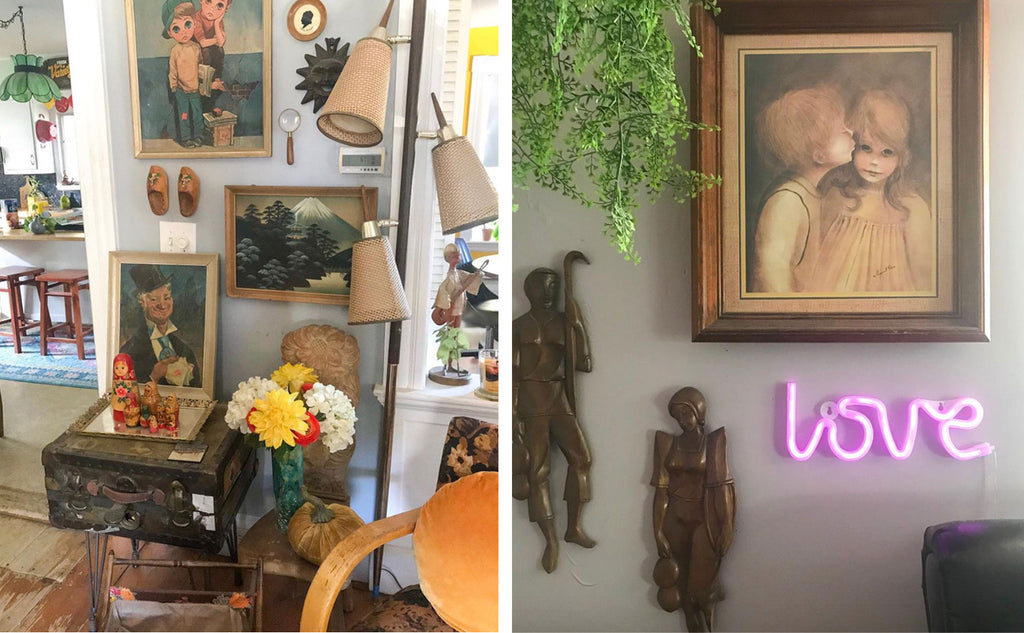House Tour: Ryann's Mid Century Home - details of wall art and neon sign