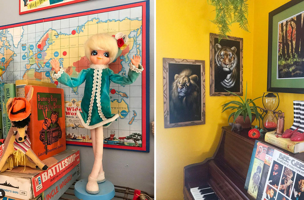 House Tour: Ryann's favourite vintage doll and corner detail with piano and kitsch pictures