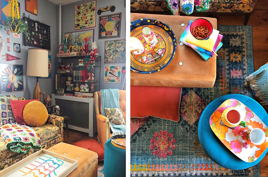 House Tour: Ryann's Mid Century Home - corner details and top shot of tea time
