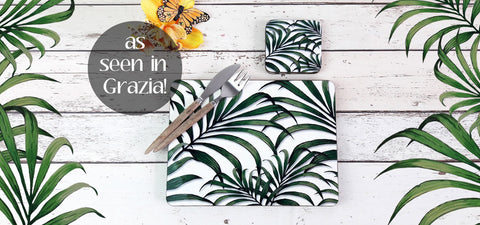 Inkabilly Palm Leaf Print Placemats - as seen in Grazia