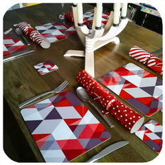 Customer photo - Scandi Geometric Placemats in red, on Christmas Table | The Inkabilly Emporium