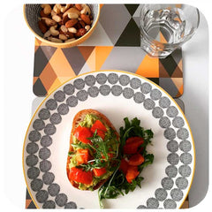 Customer photo - Scandi Geometric Placemats on table with plate, glass and bowl | The Inkabilly Emporium
