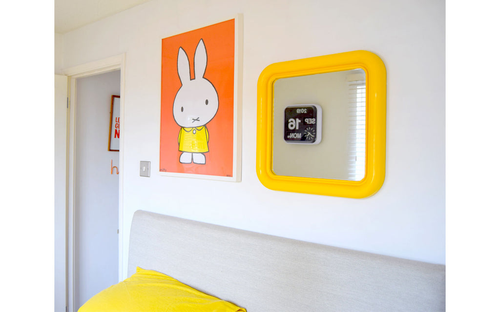 House Tour - Sophie's Bedroom. Miffy print and vintage mirror above bed.