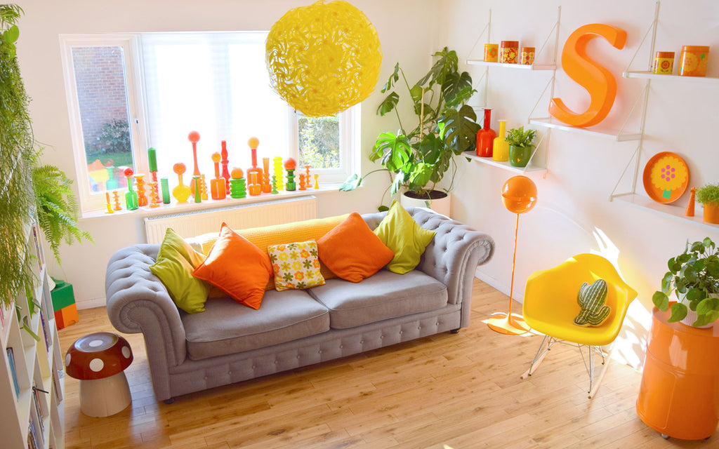 House Tour - Sophie's Colourful Retro Decor - Lounge top shot