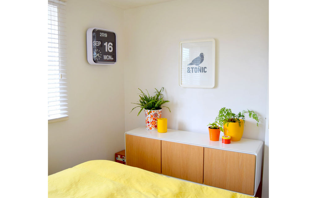 House Tour - Sophie's Bedroom with colourful plant pots and vintage clock