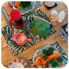 Customer photo - Tropical Palm Print Placemats on table with food | The Inkabilly Emporium