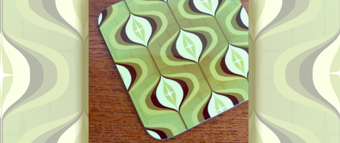 Mid Century Op Art Coasters in green, by Inkabilly