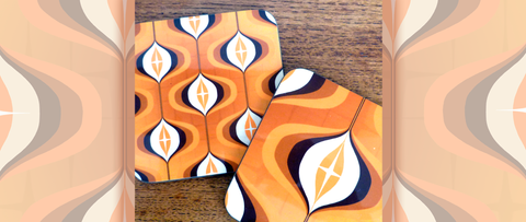 Mid Century Op Art Coasters in Orange, by Inkabilly