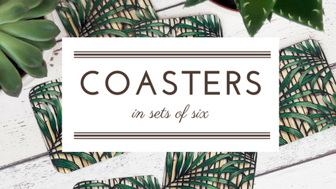 tropical palm leaf coasters in sets of 6