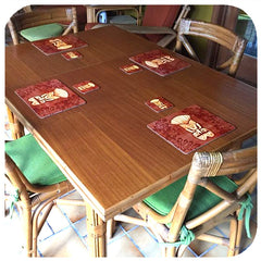 Customer photo - Tiki Placemats and coasters in Tiki themed room | The Inkabilly Emporium
