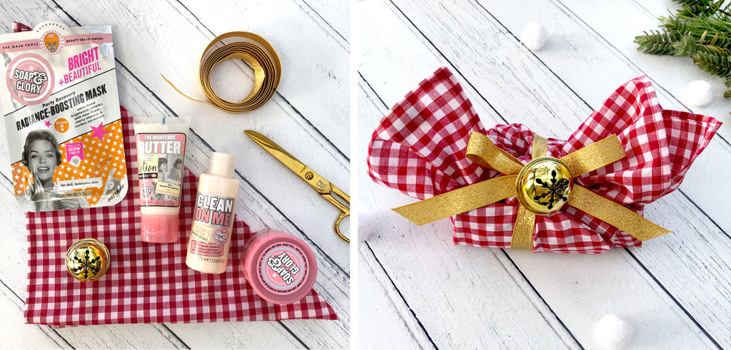 Beauty products wrapped in Gingham Bandana