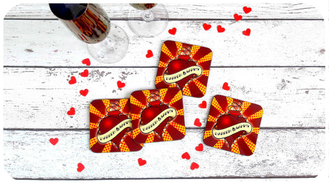 Rockabilly Wedding Gift Coasters by Inkabilly
