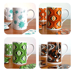New mid century inspired mugs