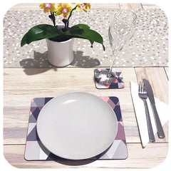 Customer photo - Scandi Geometric placemat and coaster in Blush Pink on table with crockery and plant | The Inkabilly Emporium