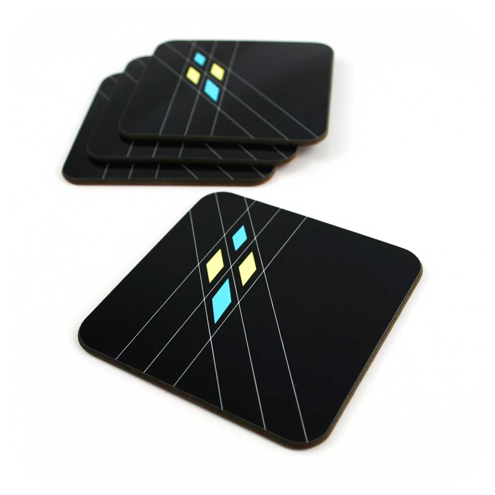 Set of 4 Black Mid Century Geometric Coasters | The Inkabilly Emporium
