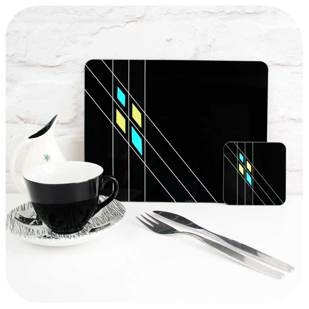 Black Mid Century Geometric Placemat & coaster set with homemaker cup and saucer | The Inkabilly Emporium
