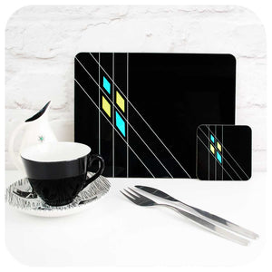 Mid Century Geometric Placemats in Black, set of 4