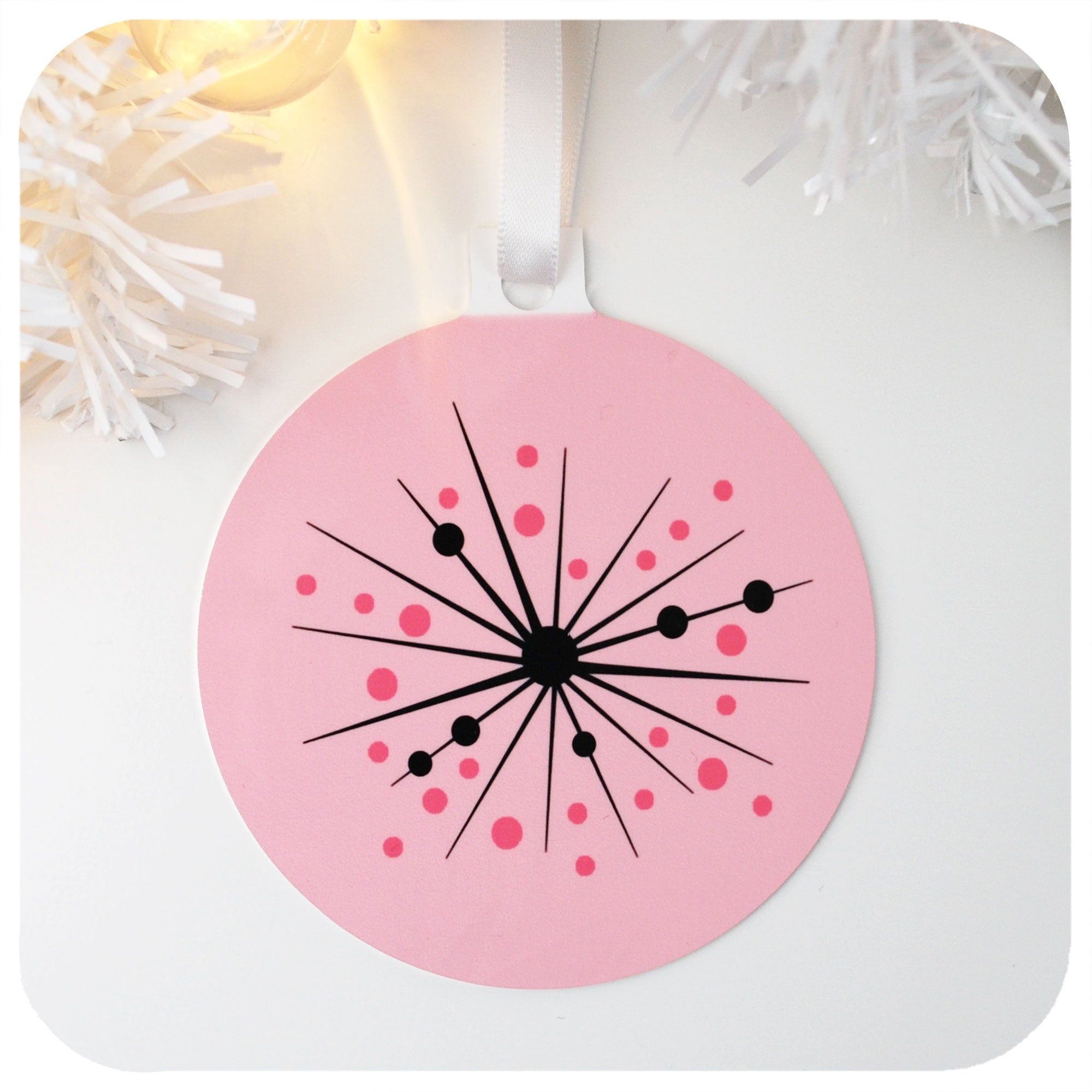 Pink Atomic Starburst  Metal Christmas Ornament | The Inkabilly Emporium