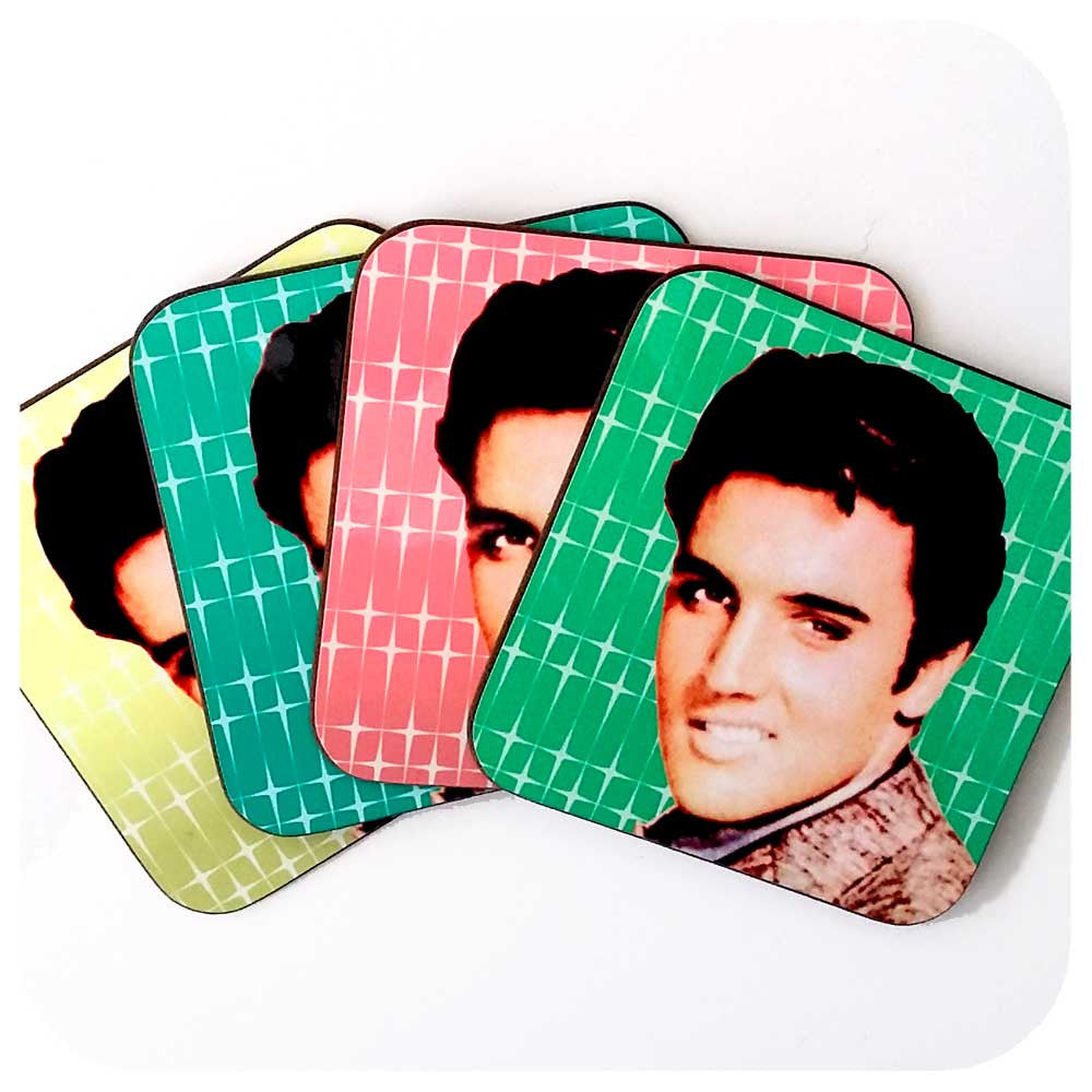 Kitsch Elvis Coasters, set of four | The Inkabilly Emporium