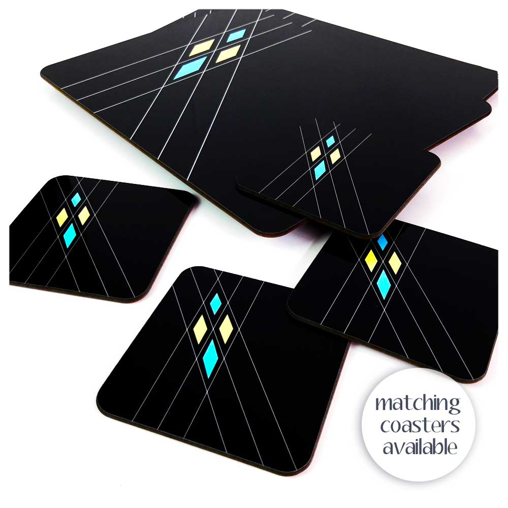 Mid Century Geometric Placemat with matching coasters, in Black | The Inkabilly Emporium