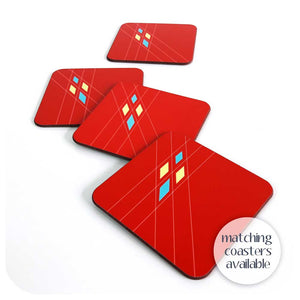 Matching Coasters for our Red Mid Century Geometric Placemats | The Inkabilly Emporium