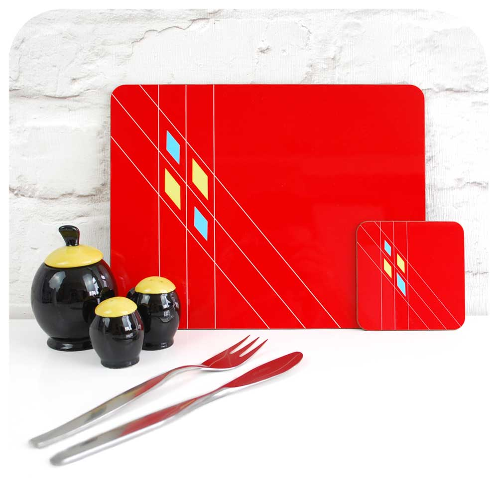 Mid Century Geometric Placemat & Coaster in Red  | The Inkabilly Emporium