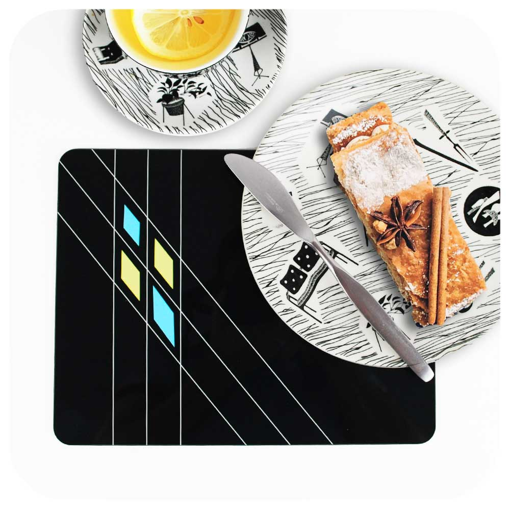 Black Mid Century Geometric Placemat with afternoon tea on homemaker crockery | The Inkabilly Emporium