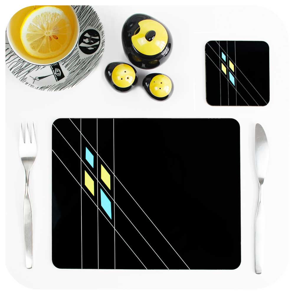 Black Mid Century Geometric Placemat & Coasters Set | The Inkabilly Emporium