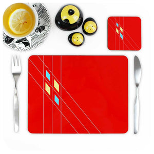 Red Geometric Placemat &  Matching Coaster | The Inkabilly Emporium