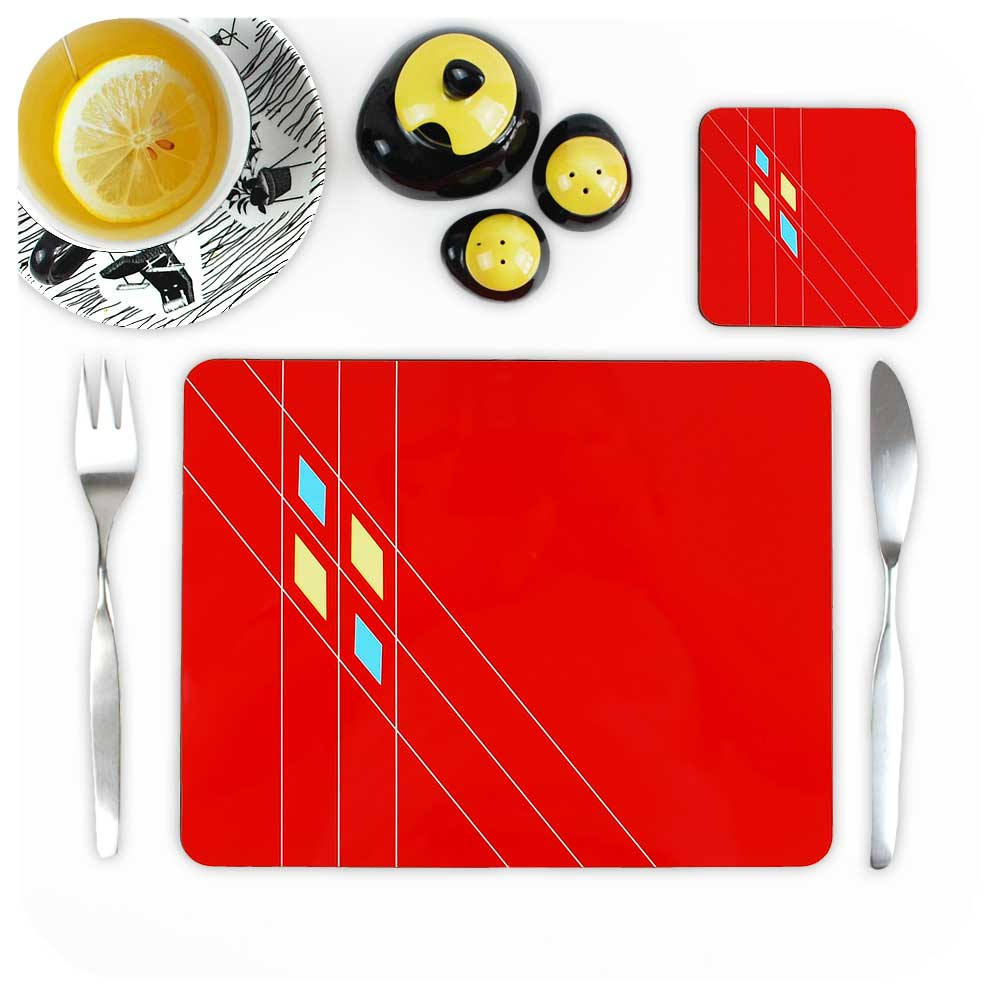 Mid Century Geometric Placemat with matching coaster in red | The Inkabilly Emporium