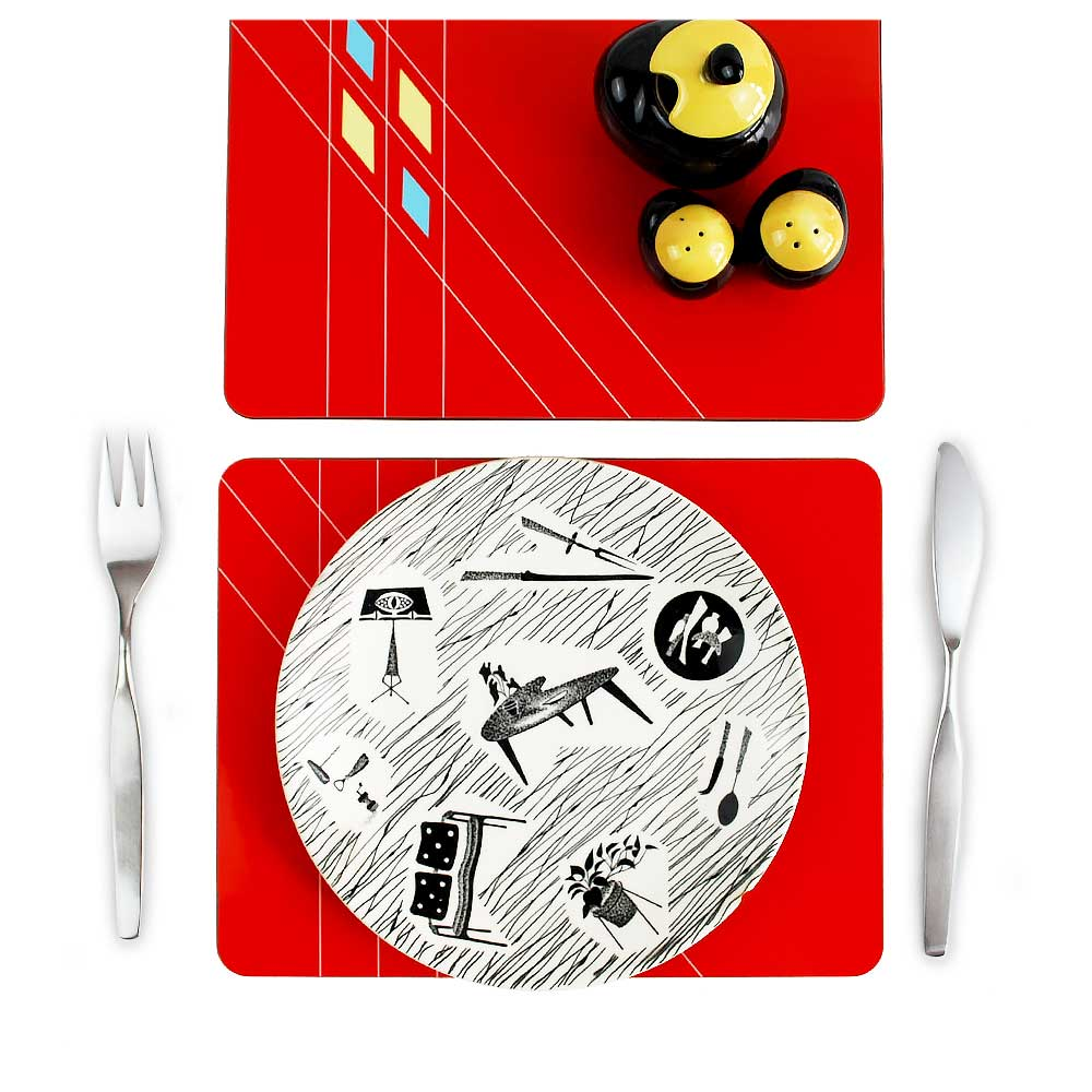 Mid Century Modern Red Geometric Placemats | The Inkabilly Emporium