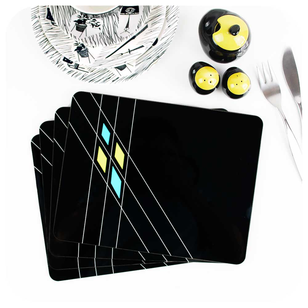 Art Deco Geometric Placemats in Black, set of 4 | The Inkabilly Emporium