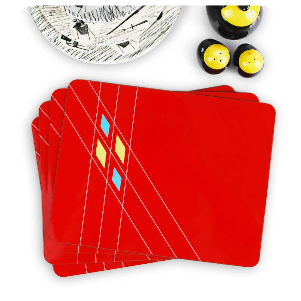 Mid Century Geometric Placemats in Red, Set of 4 | The Inkabilly Emporium