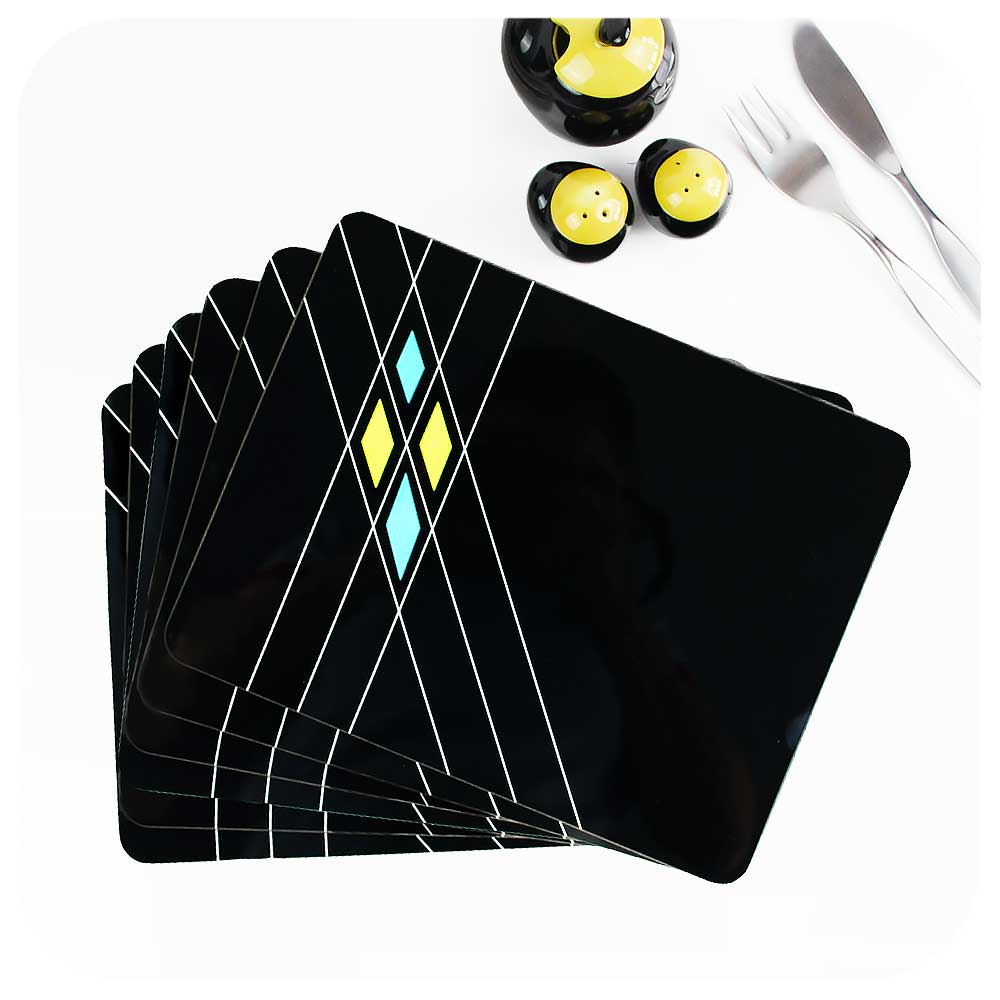 Set of 6 Black Mid Century Geometric Placemats | The Inkabilly Emporium