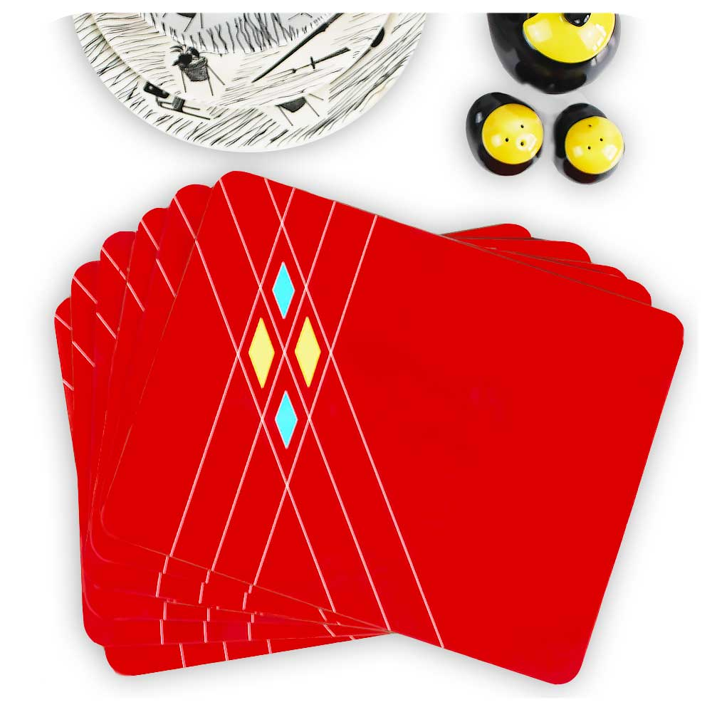 Mid Century Geometric Placemat, set of 6 in a fan configuration | The Inkabilly Emporium