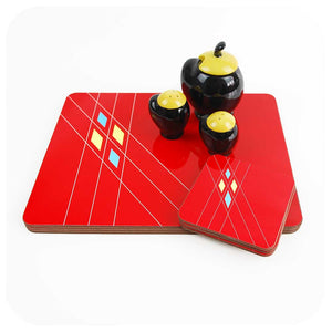 Red Mid Century Geometric Placemats & Coasters, set of 6 | The Inkabilly Emporium