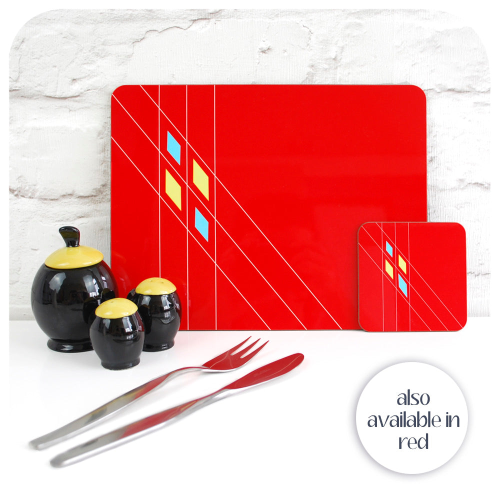 Our Retro Argyle patterned Placemats & Coasters are also available in red | The Inkabilly Emporium